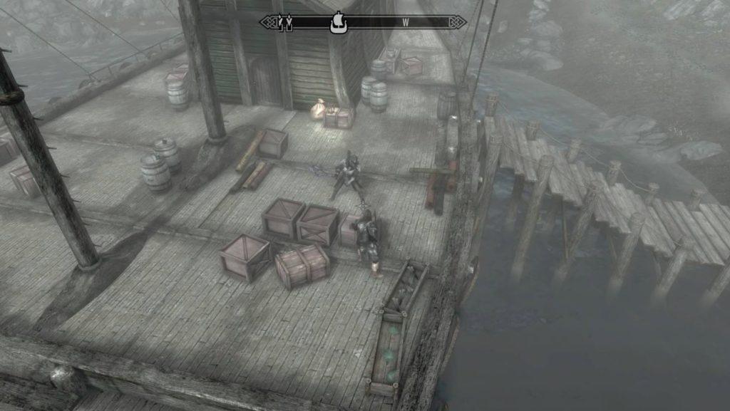 スカイリム三人称で遠方から見たゲーム画面