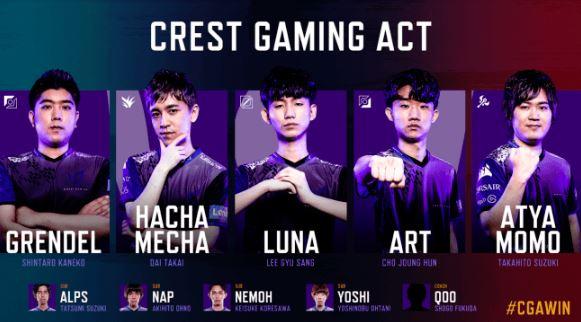 Crest Gaming Act (クレスト ゲーミング アクト / CGA)2019年後半開幕メンバー