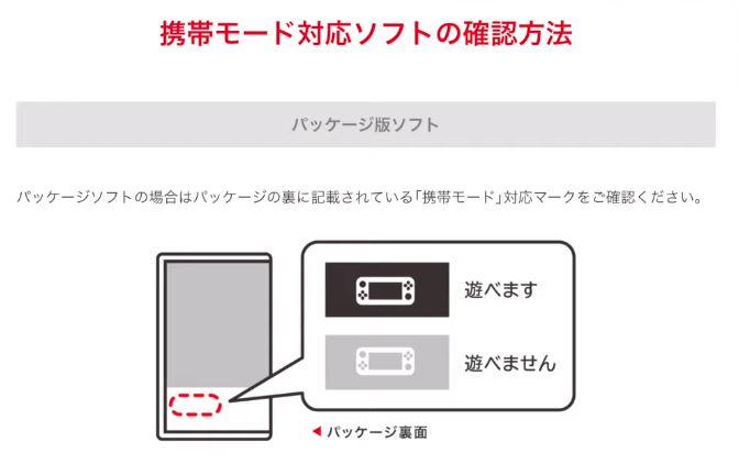 任天堂スイッチソフトのパッケージの裏面にある「携帯モード」対応マーク確認について