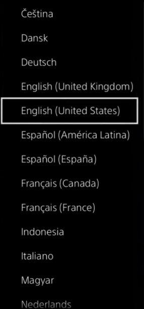 PS4 システム言語画面