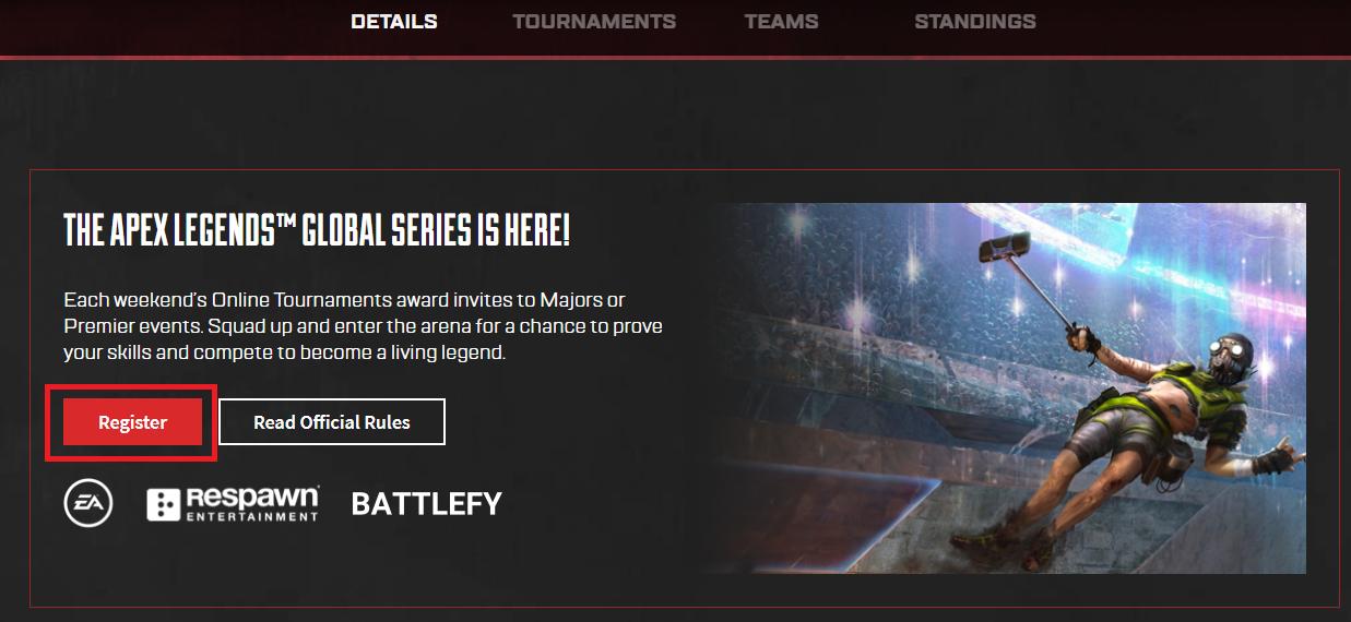 Apex Legends Global Seriesの「Register」画面